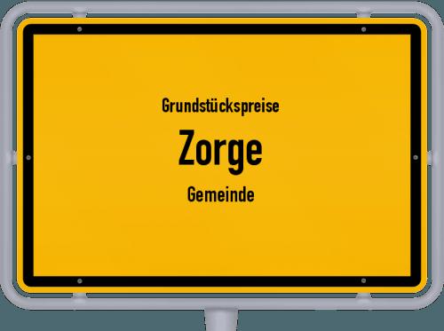 Grundstückspreise Zorge (Gemeinde) 2019